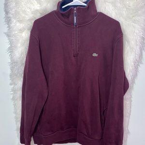 Lacoste 1/4 Zip Pullover Sweatshirt Maroon Sz8 3XL